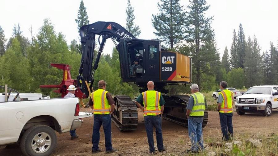 Mike Arp, sales representative of Cashman Equipment, was confident that the company could support the proposed Cat 522B feller buncher for Stoy.