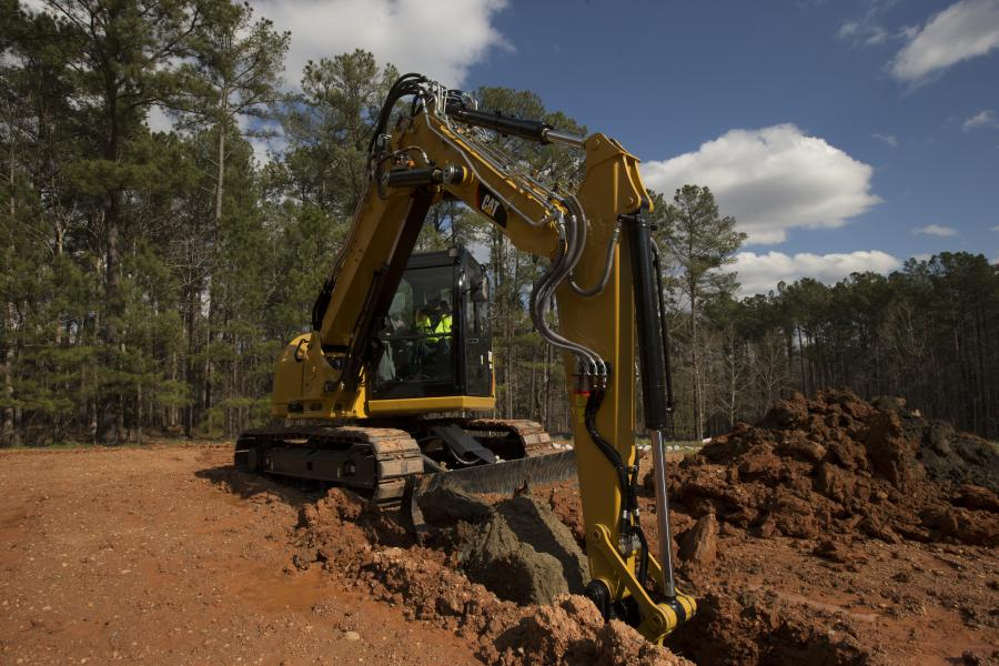 The Cat 308E2 mini hydraulic excavator is now available in a variable-angle-boom (VAB)