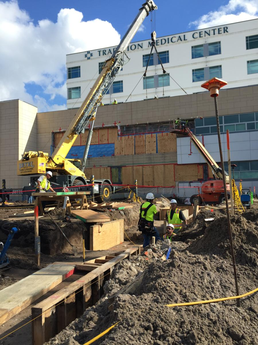 Robins & Morton photo. With a targeted completion date of 2018,  crews in Port St. Lucie, Fla., are carrying out construction plans that will double the size of  the community's private 90-bed, acute care hospital.