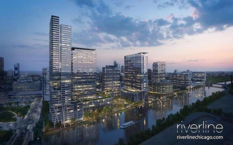 As approved last year, the transformative master plan calls for the phased construction of five mixed-use highrise buildings along the east bank of the Chicago River between Harrison and Roosevelt.