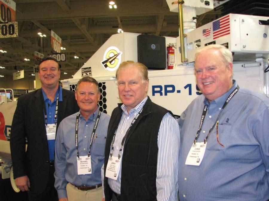 (L-R): Scott Collins, Tracey Road Equipment, East Syracuse, N.Y.; Michael Kvach, Roadtec, Chattanooga, Tenn.; Jerry Tracey, Tracey Road Equipment; and Chris Connolly, Roadtec.