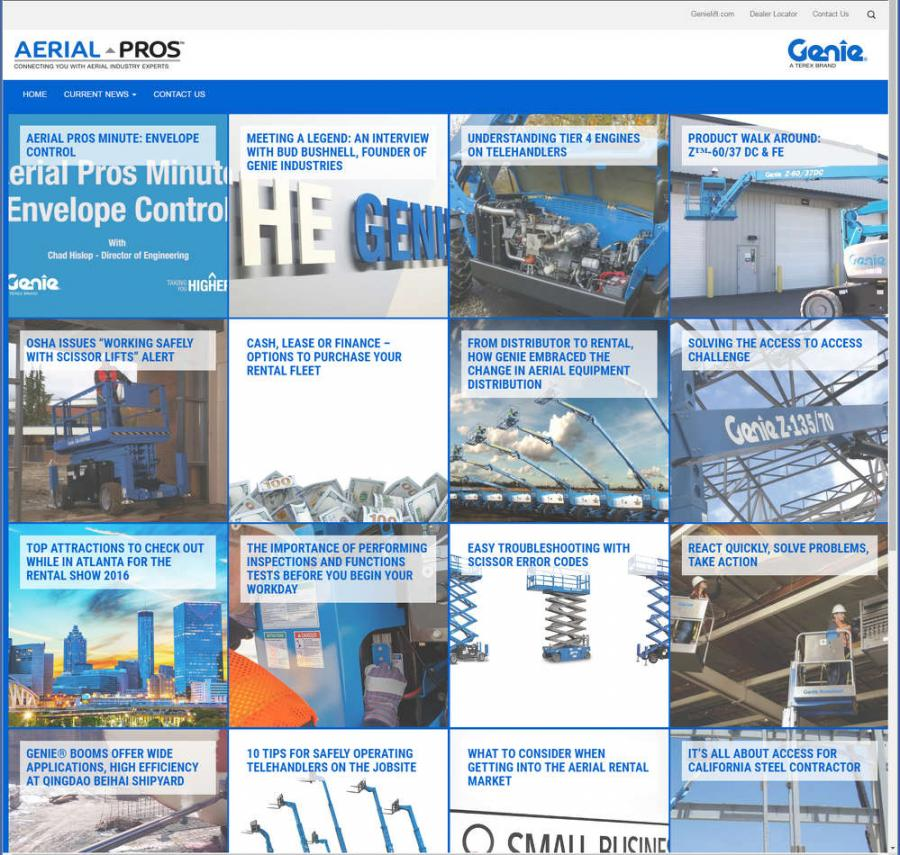 The website also gives customers' insights on sales and marketing best practices, company news, as well as upcoming industry and company events. Content featured on Genie Aerial Pros includes tips and trends articles, product bulletins and videos, industry alerts, customer success stories, testimonials and more.