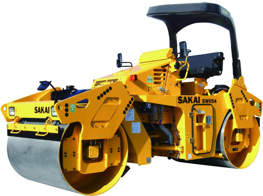 Sakai America's upgraded SW654-series vibratory tandem roller, pictured with new ROPS.