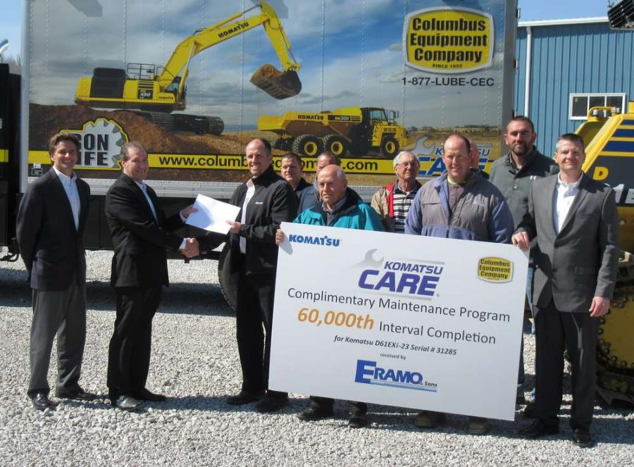 Pictured here with representatives from Komatsu, Columbus Equipment Company and Eramo & Sons, Komatsu Director of Customer Support presents Chris Eramo, Eramo & Sons CFO, with a service certificate for Komatsu CARE's 60,000th service interval.