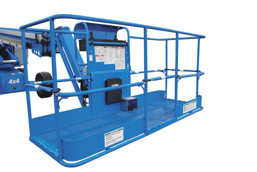 New platform baskets for Genie boom lifts offer three entry points on an 8-ft. (2.4 m) basket or two entry points on a 6-ft. (1.8 m) basket to enhance operators' mobility.
