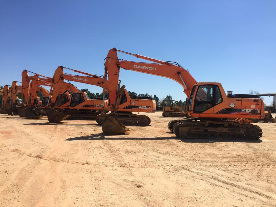 An assortment of Daewoo hydraulic excavators were available at the auction in Florala, Ala.