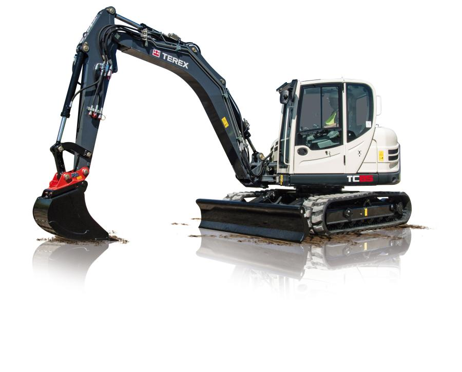 Weighing 18,080 lb. (8,200 kg), the TC85 excavator boasts bucket capacities from 3.1 to 10.8 cu. ft. (.08 to .3 cu m), a dig depth of 14 ft. 10 in. (4.52 m), a bucket digging force of 11,960 lb.ft. (53,200 N) and a reach of 25 ft. 4 in. (7.72 m).