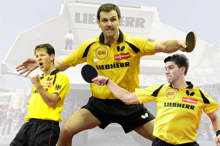 "Timo Boll, Bastian Steger and Patrick Franziska from the German national team are competing against Austria at the ""Match in the Pit."""