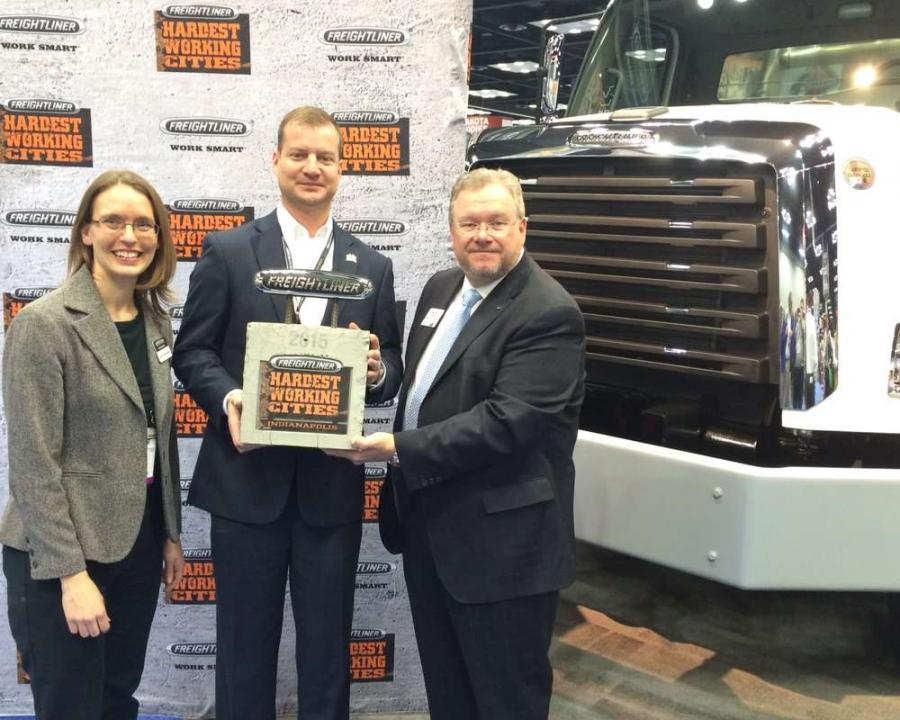 (L-R): Mary Aufdemberg, Brian Gildea and Richard Saward at the 2015 NTEA Work Truck Show for the lauch of HWC program.