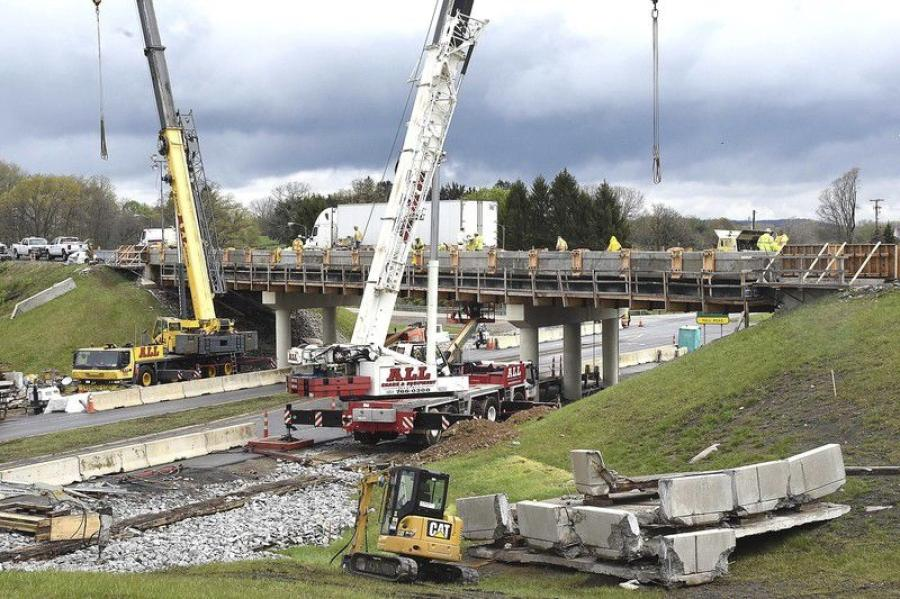 A bridge replacement project under way on the West Virginia Turnpike at Ghent is the first of its kind in West Virginia.