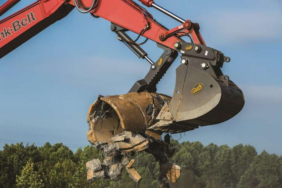 The Geith progressive linkage (pro-link) hydraulic thumb provides up to 180 degrees of rotation, allowing operators to pick up and place rocks, tree stumps, pipes and other irregular shaped objects closer to the excavator.