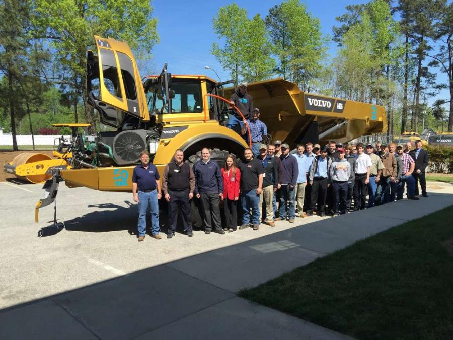 Students in the SkillsUSA program and Wilkes Community College had a chance to tour the ASC facility and look over many Volvo products, including the Volvo A40G golden hauler.