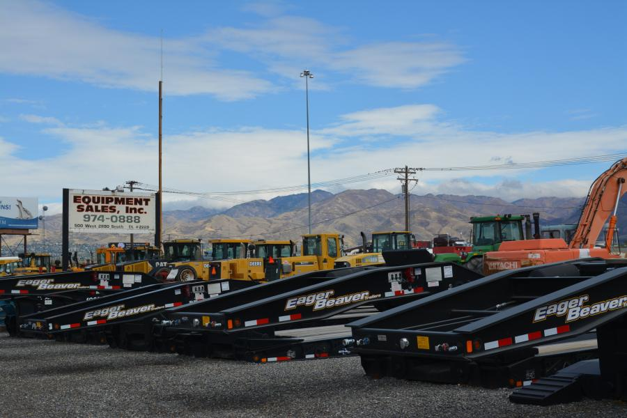 Eager Beaver trailers and late-model heavy construction equipment are among the large inventory at Equipment Sales Inc.