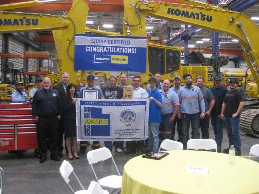 Komatsu Equipment was awarded the prestigious Safety and Health Achievement Recognition Program (SHARP) Award at its Salt Lake City, Utah, facility on April 12.