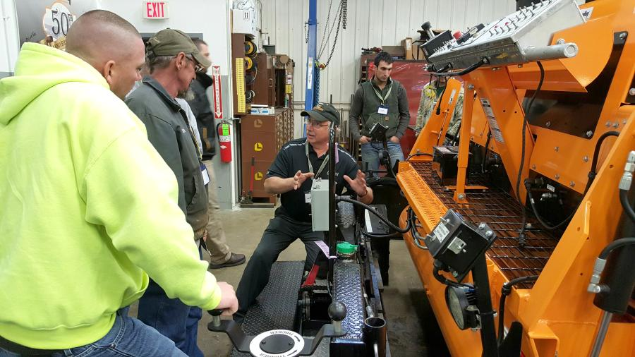 Ronnie Hoffman, Stephenson's asphalt equipment service manager, offers his decades of LeeBoy experience with attendees of the Harrisburg, Pa., workshop.