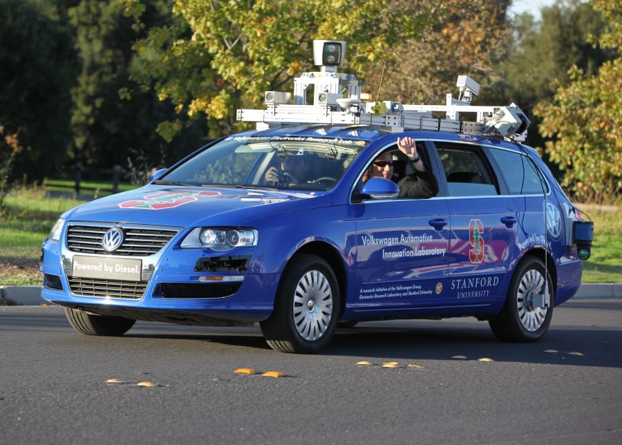 Image courtesy of Steve Jurvetson.  Junior, a robotic Volkswagen Passat, at Stanford University in October 2009.
