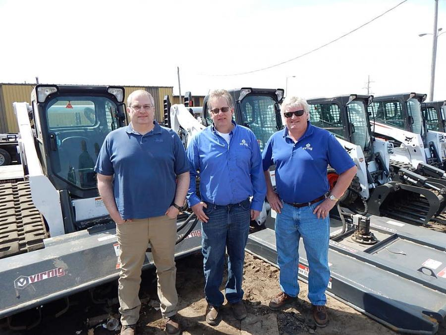 The Virnig Attachments team of Darin Virnig, developmental engineer; Dean Virnig, president; and Joe Shaughnessey, sales manager, showcase the Virnig  72-in. (182.8 cm)?tiller on a Bobcat T650 and the Virnig 72-in. brush mower on a Bobcat S650.