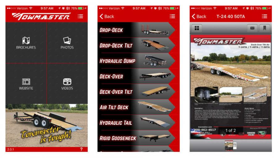 Towmaster's app contains PDFs of all of Towmaster's trailer models, an extensive image gallery, links to Towmaster's website, YouTube videos and social media, plus you can send images and PDFs from directly within the app.