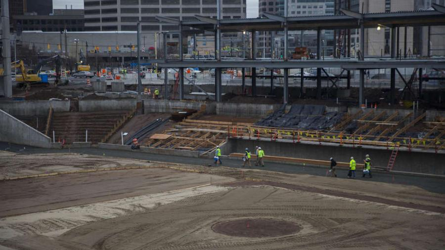 Image courtesy of Lauren Schneiderman / Hartford Courant.Police say four men were arrested and charged with criminal trespassing after they were caught playing baseball in the yet-to-be-completed Connecticut ballpark at about 8:30 p.m. Saturday, May 21st.