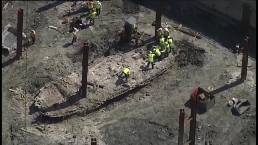 Image courtesy of WCVB.CNN is reporting that construction crews have unearthed a historic find: the remains off a 50-foot wooden ship from the mid- to late 1800s.