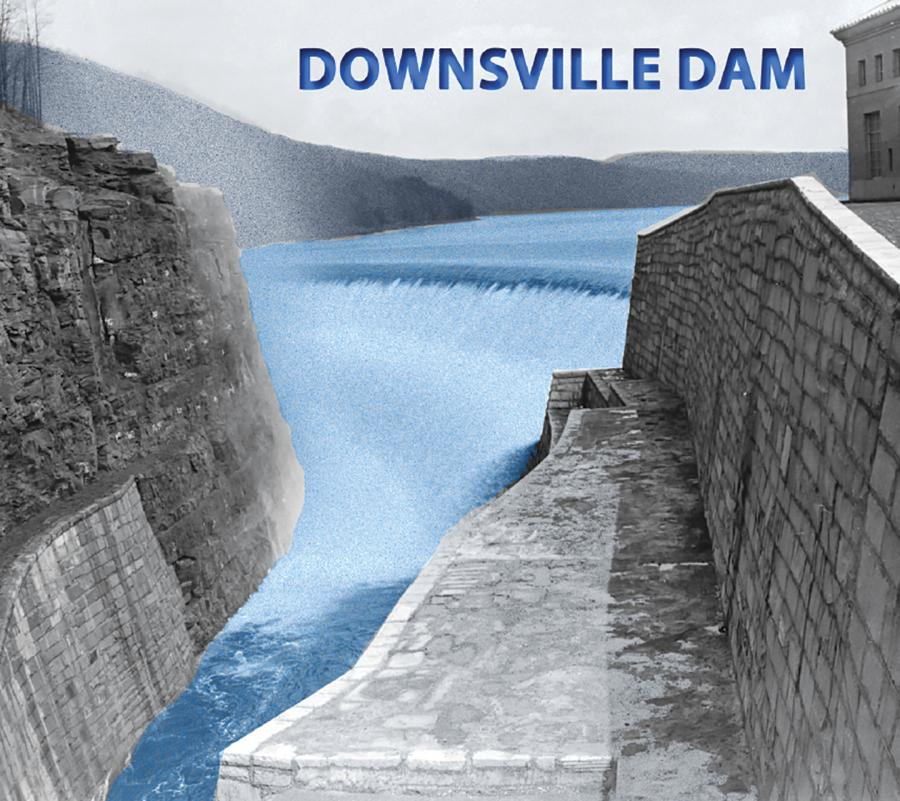 Fermo Bianchi photo The completed Downsville Dam in Delaware County, N.Y., taken on April 18, 1956, at 1:30 p.m. Camera point on south side of rock cut at the north end of dam looking east showing flow (approximately 1.3 feet) of water over the spillway.