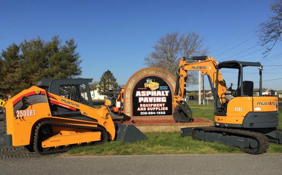 Asphalt Paving Equipment and Supplies provides sales and service to the Wilmington, Del., and Harbeson, Del., area for Mustang skid loaders, track loaders and compact excavators.