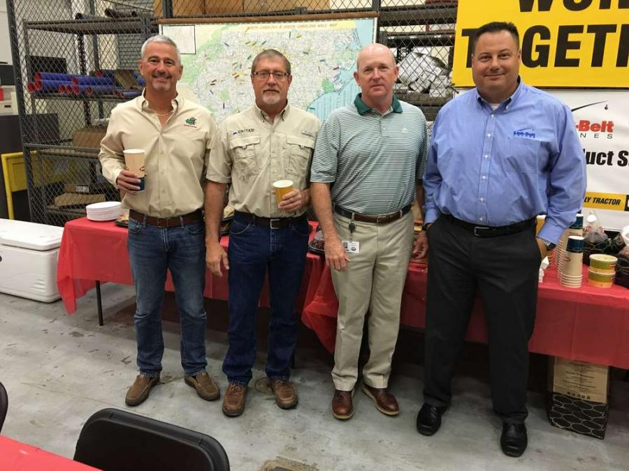 (L-R) are Jeff Campbell, AME Inc. in Ft. Mill, S.C.; Keith Ernandez, United Infrastructure Group in Great Falls, S.C.; Patrick Leatherwood, Pinnacle Cranes; and Mike Ogle, Link-Belt Cranes.