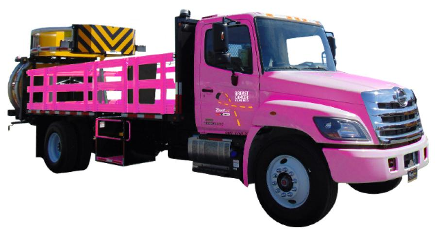 The company has taken their usual yellow racks and white cabs on their TMAs and painted them pink.