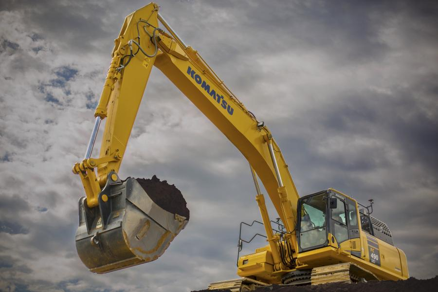 Komatsu PC490LCi-11 hydraulic excavator is the largest 3D semi-automatic construction-sized excavator available.