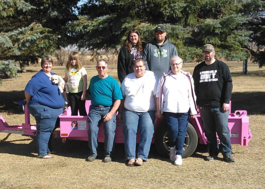 (L-R front row): Sandy Dinger, Cheryl's sister; Lily, Cheryl's granddaughter; Gerald, Cheryl's father; Jan, Cheryl's husband; Darlene, Cheryl's mother; Codey, Cheryl's son (L-R back row): Cathy, Cheryl's daughter and Curtis, Cheryl's son.