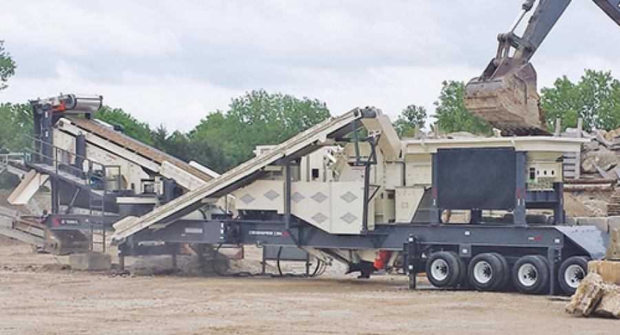The Terex Cedarapids CRH1313R plant is a complete stand-alone closed-circuit unit with three product capability, and features a high production Cedarapids IP1313 impactor with a 3 or 4 bar 50 in. (127 cm) rotor powered by a Tier IV, 450 hp (335 kW) diesel engine, direct drive to crusher, and 200 hp (150 kW) generator.