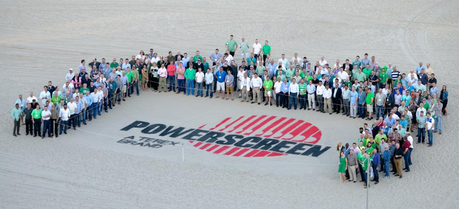 Brand in the sand: Powerscreen hosted a world dealer conference in Florida in 2014, this is a selection of dealers and customers from around the world who attended.
