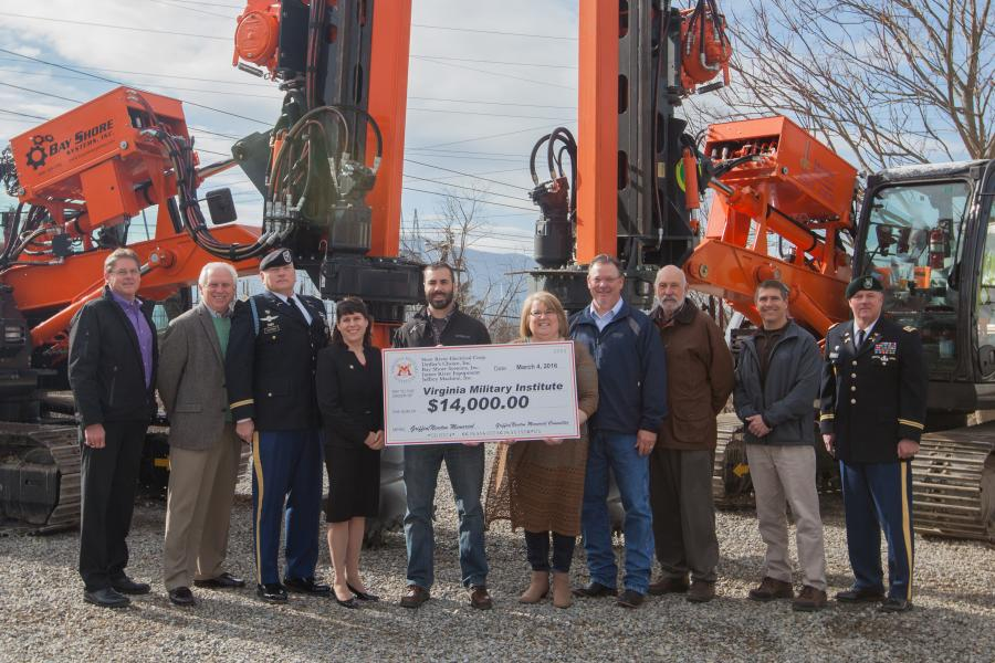 (L-R) are John Verdin, Mid Atlantic manager, Driller's Choice Inc.; Allen Cellar, president, Driller's Choice Inc.; Col. Eric D. Hutchings, deputy athletic director, VMI; Megan Newman, Ph.D., director, Corporate and Foundations Giving, VMI; Joshua L. Bandy, director fleet operations, New River; Lillian Cook, fleet/operations support administrator, New River; Terry M. Garrett, senior vice president, Substation Atlantic region, New River; Daniel Beasley, sales, James River Equipment; Darrell Print