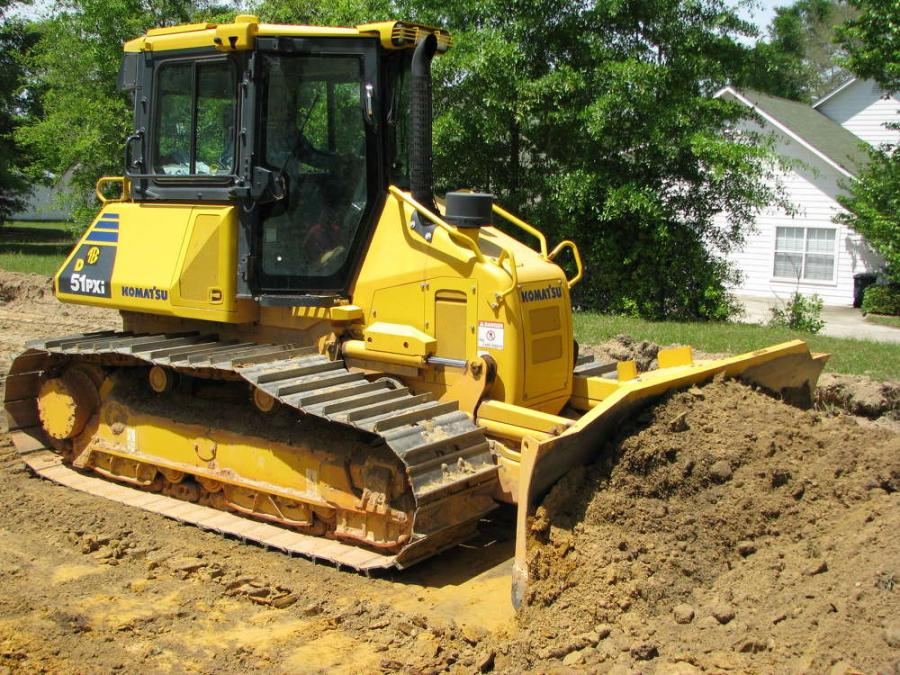 A second Komatsu intelligent machine control dozer, a D61PXi, was brought in by Gulf Hauling & Construction for grading work for a new Saraland School District building site in Mobile County, Ala.
