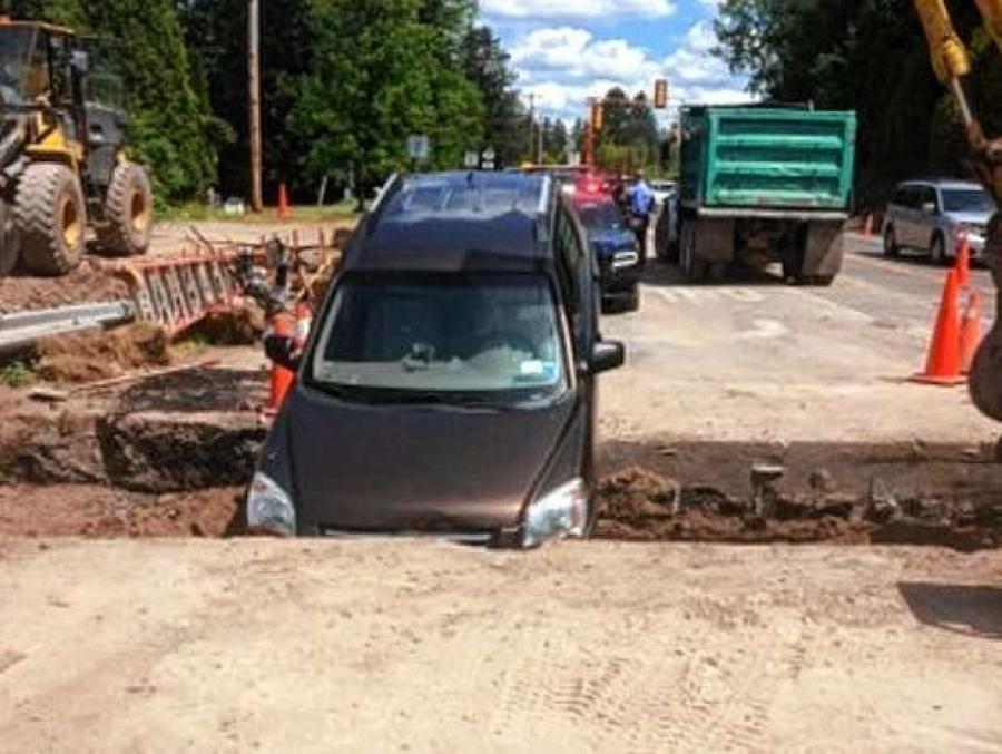 New York State troopers chasing a burglary suspect last week got an assist from a construction site.