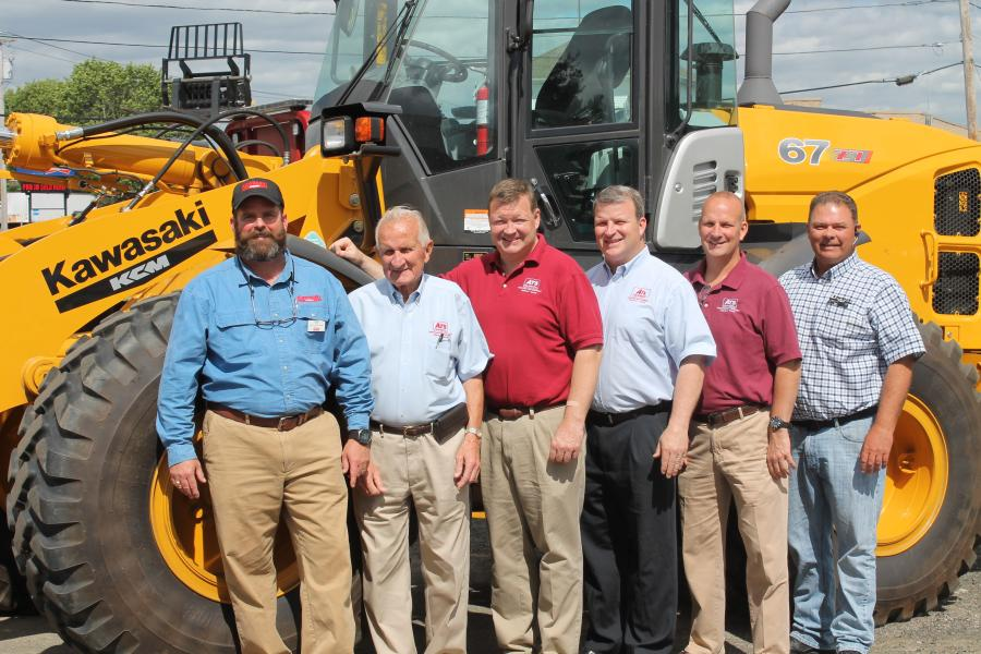(L-R): Drew Braun, regional sales manager of KCMA Corporation; John Connolly, JC Connolly, Stephen Connolly and Brian Connolly, all of ATS Equipment; and Scott Tjelmeland, field sales manager of KCMA Corporation.