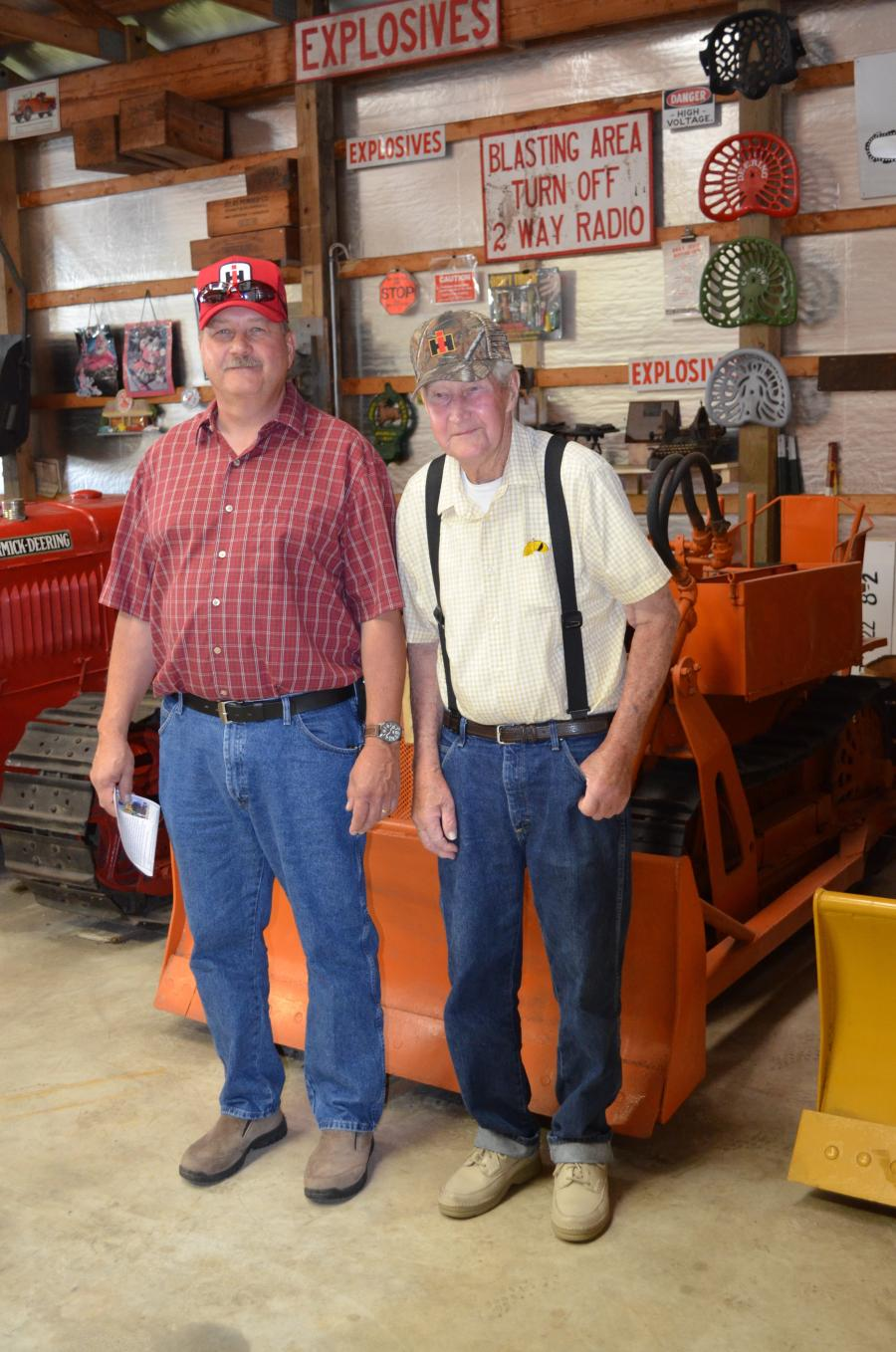 Mike Ritter (L), equipment manager of Melvin L. Joseph Construction Co. Inc. in Georgetown, Del., enjoys the open house with his father, Frank Ritter, a retired farmer.