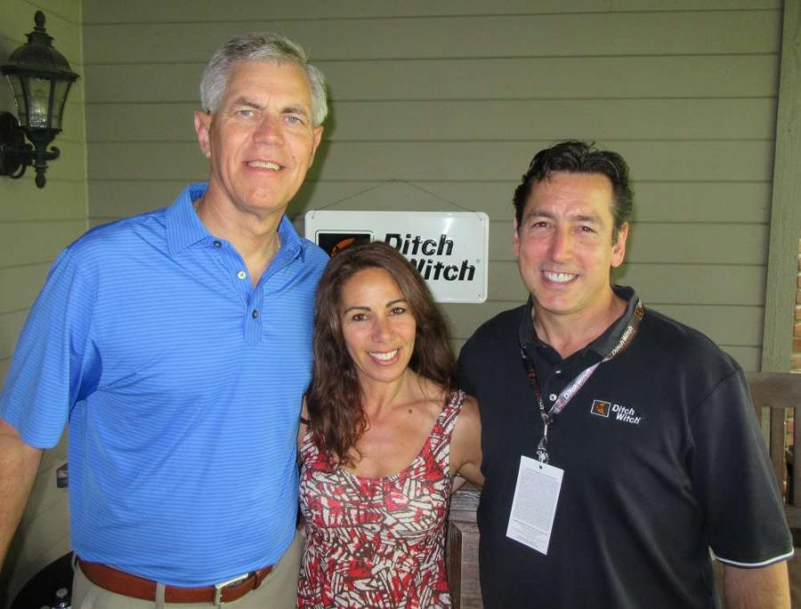 (L-R): Dennis Wierzbicki, president of Ditch Witch Equipment, joins Tania and Matt Di lorio, Ditch Witch Mid-States, for the event.