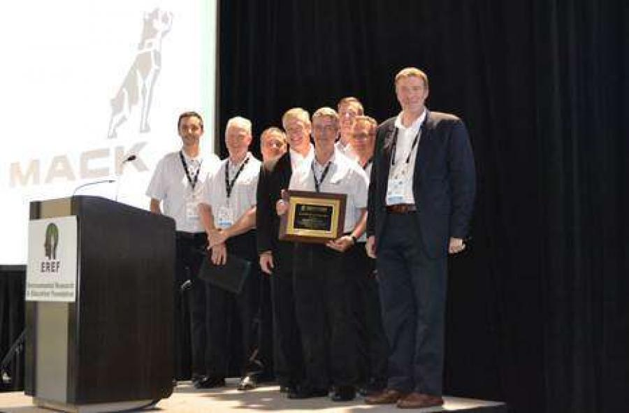 Mack Trucks was honored by the Environmental Research & Education Foundation (EREF) for its long-standing support of the organization's research and education efforts around sustainable waste management. Curtis Dorwart, Mack refuse product manager (with plaque), was also recognized for his years of dedication and advocacy on behalf of EREF.