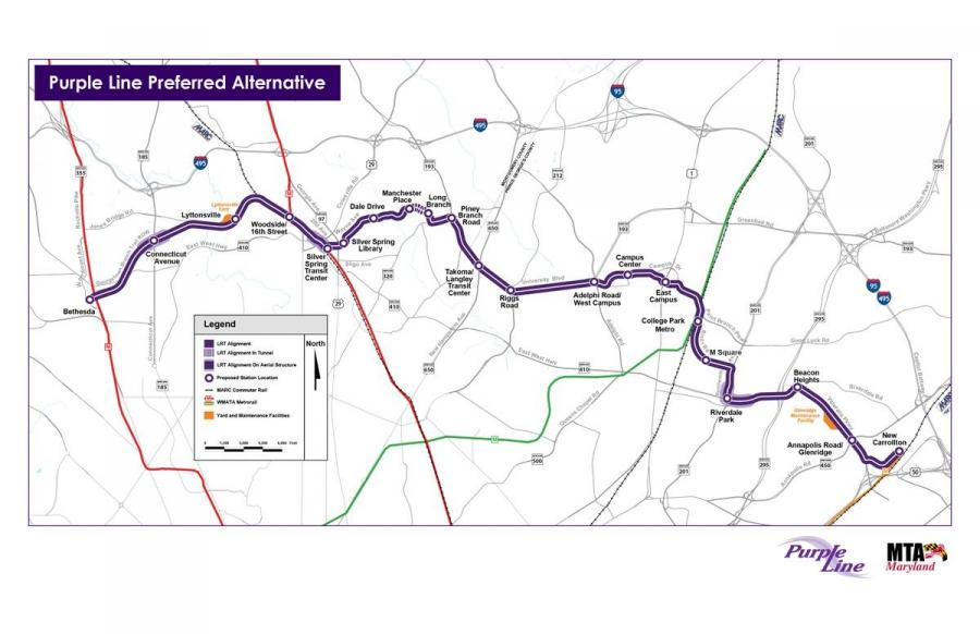 Maryland Gov. Larry Hogan gave the green light to the Maryland Department of Transportation in March for the Purple Line light rail project.