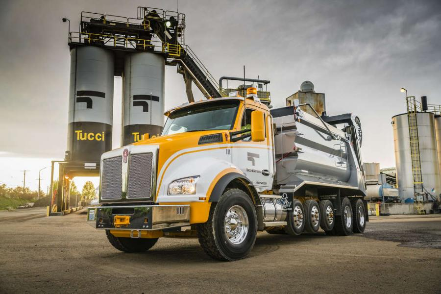 The truck, with a 256-inch wheelbase, measures 40 feet from the front bumper to the rear steerable pusher axle.