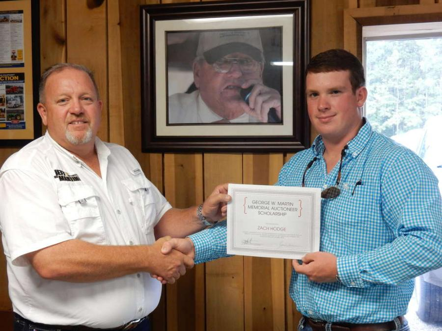 This year's winner of the George W. Martin Memorial Auctioneer Scholarship is Zach Hodge from Laurel, MS.