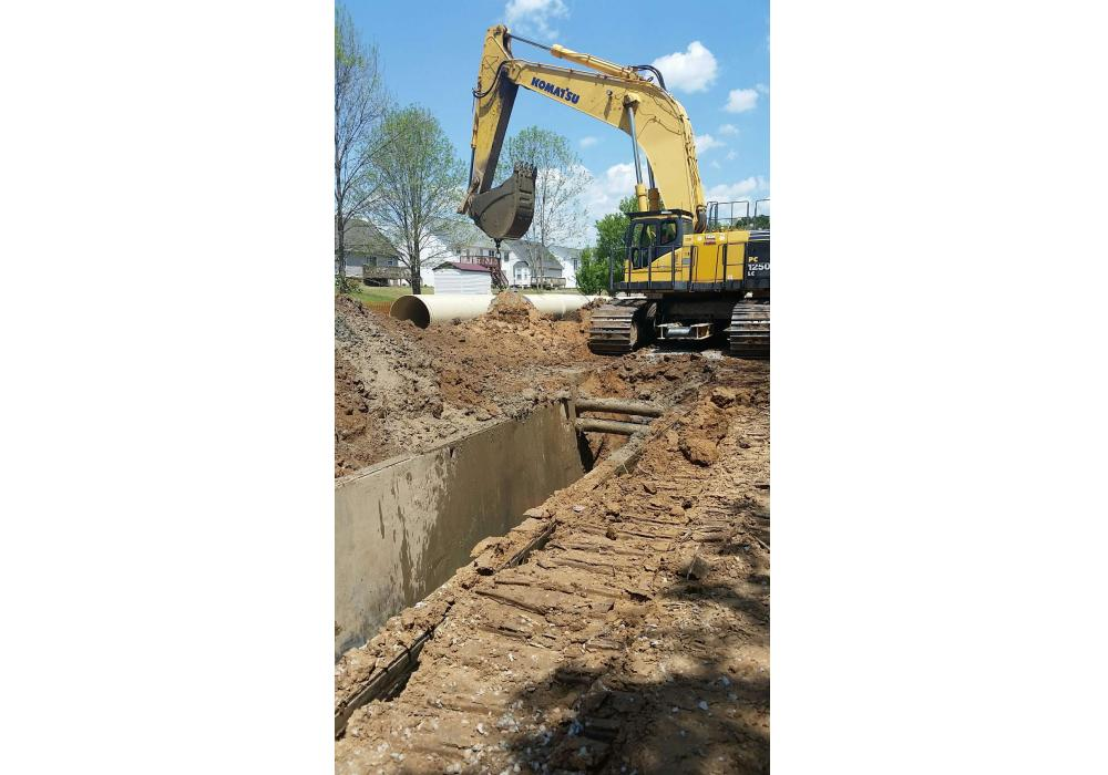 Park Construction of North Carolina Inc. is in the process of laying 23,000 ft. of 54-in. fiberglass pipe in Winston-Salem, N.C.