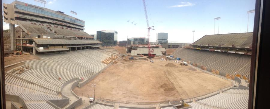 Second-phase construction pauses until November on a $256 million renovation project to upgrade Arizona State University's Sun Devil Stadium in Tempe.