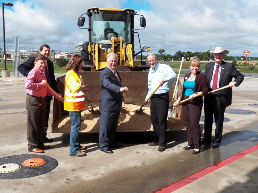 Officials break ground on overpass project in Bastrop, Texas.