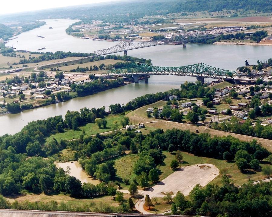 The confluence of the Kanawha and Ohio Rivers.