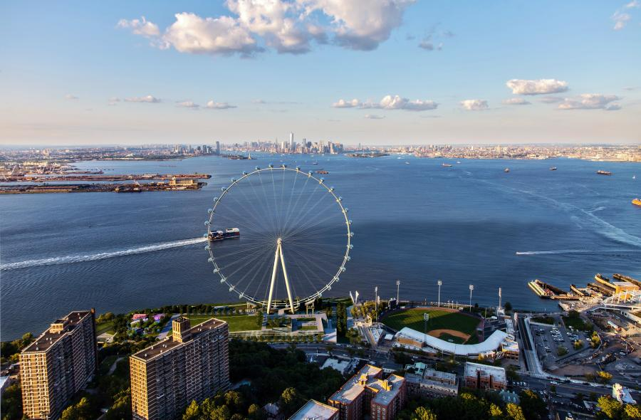 New York Wheel LLC photo. The wheel will include a total of 36 pods, with each equipped to hold 40 people for a 38-minute ride.