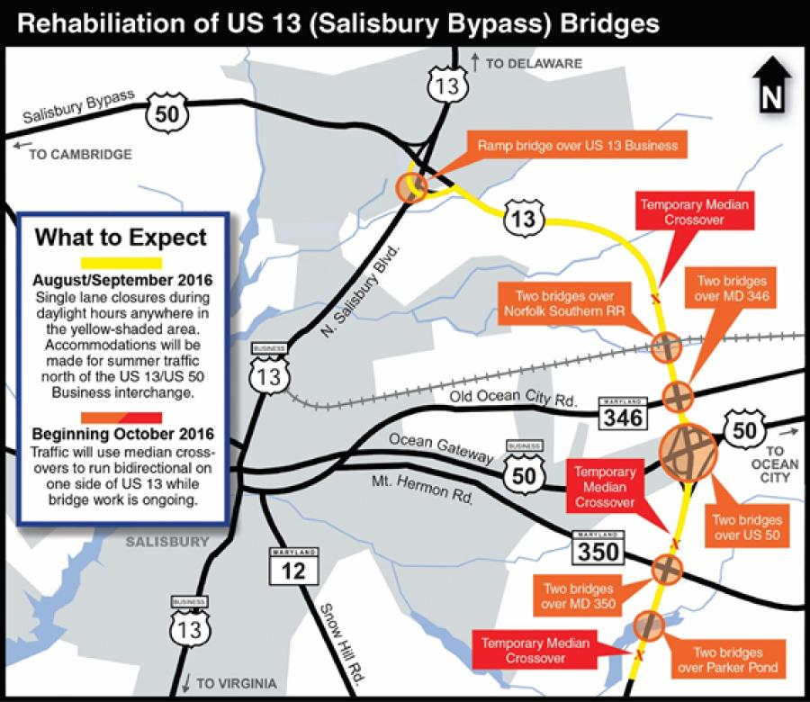 The bridges are at six locations along the northeastern section of the U.S. 50 Bypass between the U.S. 50 Business and U.S. 13 Business interchanges.
