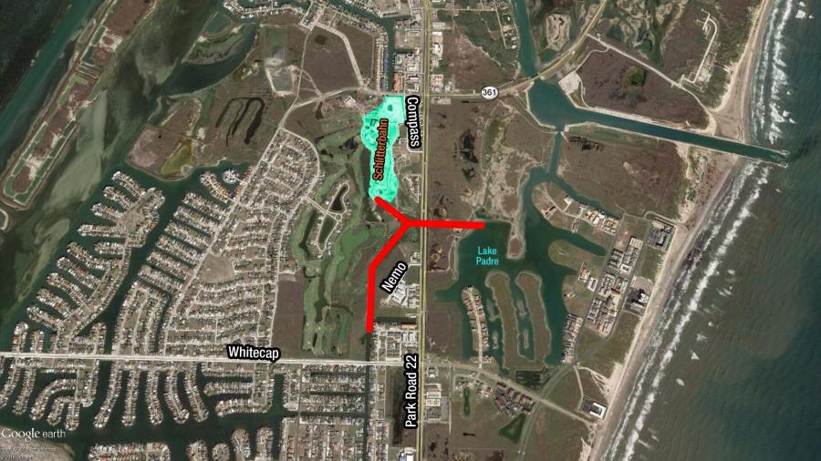 The city project involves constructing two bridges, one northbound and the other southbound, over the canal within the existing Texas Department of Transportation (TxDOT)-owned Park Road 22 right-of-way.