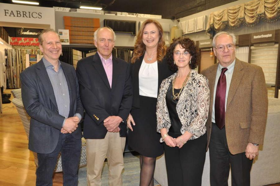 Panelists at the Designers + Builders Alliance of Long Island forum in March were (L-R) Steven Feldman, Renovation Angel; John Barrows, P3 Builder; Alliance President Irena Škoda, ŠKODA Design + Architecture and, far right, Bill Chaleff, Chaleff & Rogers. Suzanne Sokolov, second from right, is the Alliance's executive director. The event was held at Country Carpet in Syosset, NY. Photo by Howard Wechsler.